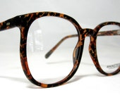 Vintage 80s Oversized Square Horn Rim Eyeglass Frames. Tortoise and Black.