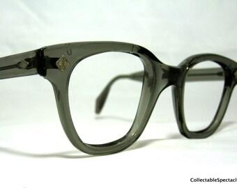 Vintage EyeGlasses Frames Mens Horn Rim Gray Safety Glasses
