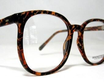 Vintage 80s Oversized Square Horn Rim Eyeglass Frames. Tortoise and Black.