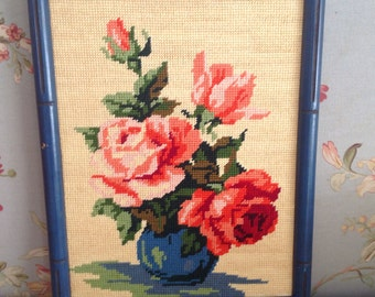 Anthropologie Style SHABBY CHIC ROSE Needlepoint Art with Blue Faux Bamboo Frame at Retro Daisy Girl