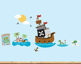 Pirate Ship - Pirate Wall Art - Treasure Map Decal - Prirates Island