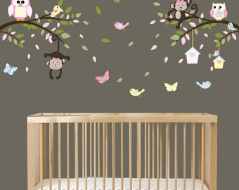 Monkey Branch Wall Decal, Branch Decals, Monkey Nursery, Girls Vinyl Decals, Vinyl Wall Decals, Baby Wall Decals, Nursery Wall Decals