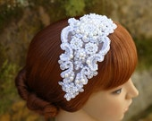 Fine White Lace Pearl Rhinestone Beaded Headband Bridal Headpiece