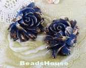 34-00-CA  2pcs High Quality Cabbage Rose with Gold Petals - Deep Blue