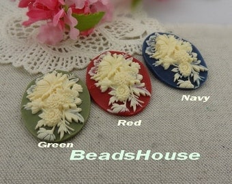 20%off 64-00-CA  2pcs (30 x 40mm) Pretty Peony Cameo - Navy/Red/Green