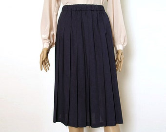 Vintage 1980s Pleated Skirt  Navy Blue Stitched Down Pleats Designer Skirt / Small