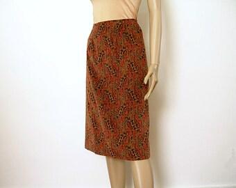 Vintage 1970s Pencil Skirt Colorful Paisley Velveteen High Waist OOAK Straight Skirt / Small