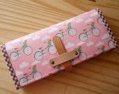 Bifolded Long Wallet : Fancy Bikes (Pink)