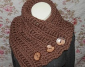 Chunky Harbor Scarf, Warm Brown, Cowl scarf, Button cowl, button Wrap, Neck Warmer, crochet scarf, Ready to Ship