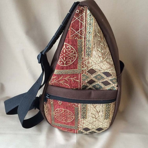 Tapestry Teardrop Sling Bag Brown/Cinnamon by MKIBags on Etsy