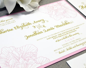 Calligraphy Wedding Invitation Suite - Vintage Wedding Invites - Floral Pocketfold Suite - Pink and Gold Wedding Invitations - Flower Invite
