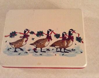 Vintage Christmas Goose Tin