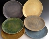 Handmade dinnerware, tableware, dinnerplates, Stoneware Dinner plates, set of six, six colors, handmade organic dinnerware by Leslie Freeman
