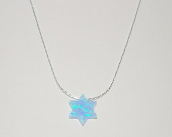10mm Light Blue OPAL STAR of DAVID Charm Sterling Silver 925 Fine Chain Necklace. Real Silver. Free Shipping Worldwide.