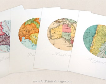 Custom Map set of Four Prints, Anniversary Gift, Custom Map Art, Paper Anniversary, Circle Art, Wall Decor