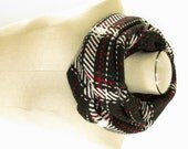 Black Plaid Wool Scarf - Black Plaid Cowl - Black Wool Infinity Scarf