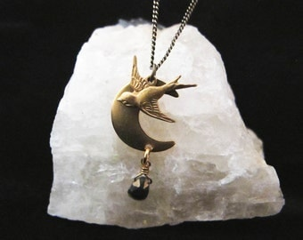 Night Bird - Flying Sparrow Over Crescent Moon with Natural Stone Necklace
