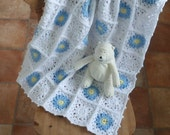 CRIB / COT/ pram blanket .' Forget-Me-Nots ' . Crochet. Baby. Heirloom. UK seller ...ready to ship .....