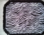 Catnip Crinkle Mat XL Kitty Black and White Zebra print,   for use as Toy, Bed, Pillow, with Orange Fringe Recycled/upcycled