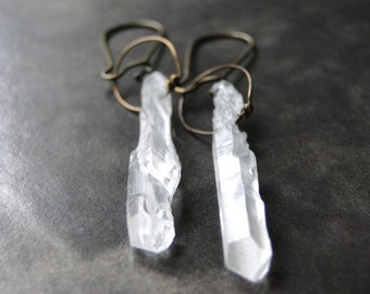 Crystal Dangle Earrings / Jewelry / Boho Chic Earrings / Gift for Her / Quartz Crystal Earrings / Dangle Earrings / Accessories / Gift Box