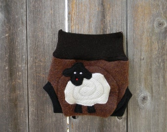 Upcycled Wool Soaker Cover With Added Doubler Brown/ Black  With Baa Baa Sheep Applique NEWBORN 0-3M Kidsgogreen