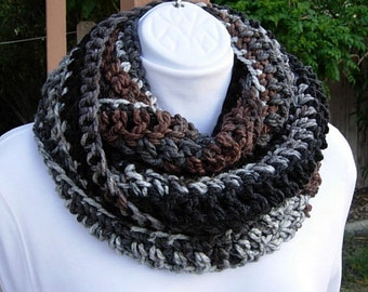 INFINITY SCARF, Loop Scarf, Cowl, Grey Gray Black Brown White Extra Long Soft Narrow Skinny Crochet Knit Winter..Ready to Ship in 2 Days