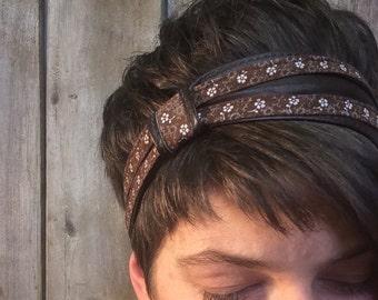 Brown reclaimed leather headband
