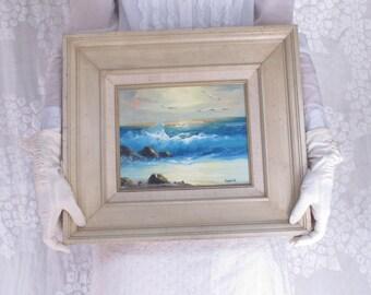Original Oil Oceanscape Seascape Landscape Framed Ocean Oil Painting Signed Vintage Painting C. Quinn California Art