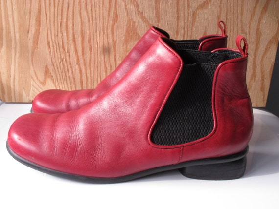 Red Leather Ankle Boots Women&39s Size 11 Shoes Handmade by SoSylvie