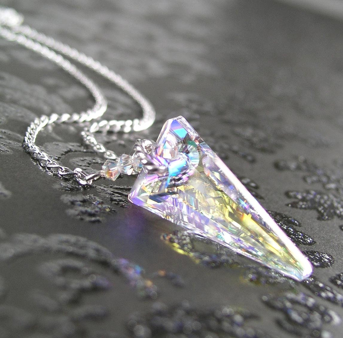 Clear Crystal Spike Necklace Sterling Silver Necklace Clear