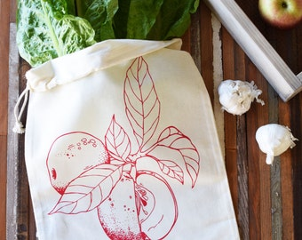 Produce Bags - Grocery Bags - Screen Printed - Reusable and Washable - Natural Cotton Produce Bags - Eco Friendly - Bulk Grocery Bag - Apple