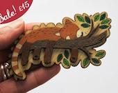 SALE! Milo the Sleeping Red Panda, wooden brooch