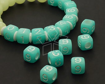 LR-062-BL / 10 Pcs - Numeric Luminous Beads, Phone Number Bead, Anniversary Date, Number Nine, 9, BLUE Square / 7mm