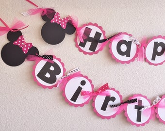 PINK White Polka Dot Minnie Mouse| Happy Birthday Banner | Hot Pink and Black