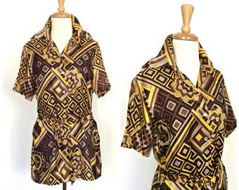 1970s shirt - 70s disco shirt - tunic top - abstract shirt - pointed collar - 1970s shirt - Medium