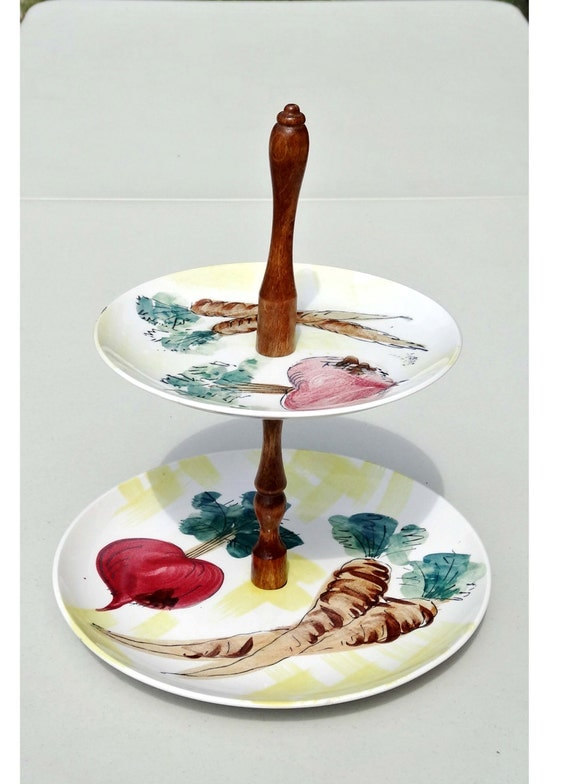 Items similar to vcago japan 2 tier canape tray beets for Canape serving platters