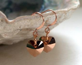 Crystal Heart Rose Gold Earrings Swarovski Crystal Hearts