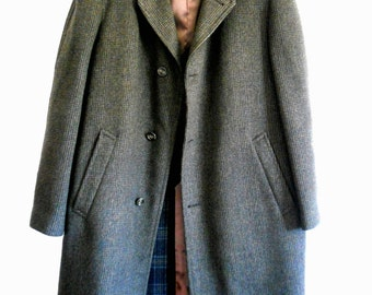 Vintage Men's Raleighs Dark Green Pure Wool Italy Trench Coat Overcoat Size XL