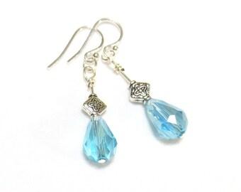 Light Blue Crystal Earrings, Blue Drop Earrings, Teardrop Crystal Earrings, Sterling Silver, Soft Blue Earrings, Pear Shaped Crystal Dangle