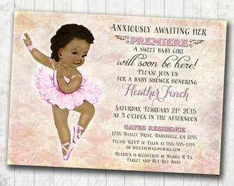 Vintage Ballerina Baby Shower Invitation For Girl - Ballet Party- Baby Shower Girl - African American - DIY Printable