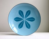 Cathrineholm Enamelware Plate - Lotus in Blue on Blue - 12 Inch Large Tray Platter - Mid Century Modern