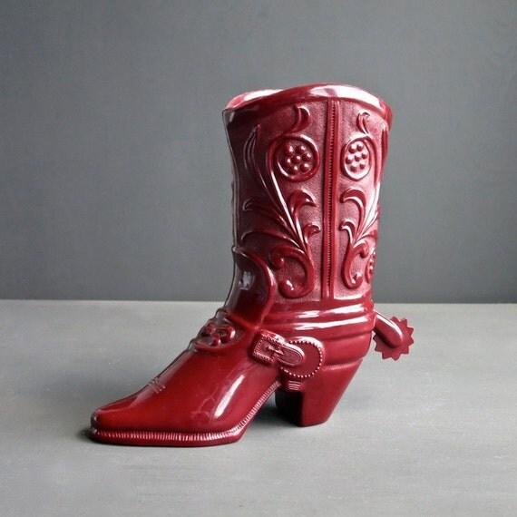 Vintage Plastic Cowboy Boot, San Angelo, Texas Novelty Souvenir, Western Home Decor