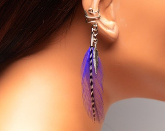 Handmade Bohemian Ear Cuff Wrap Purple and Grizzly Feathers Gift Under 10
