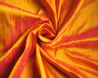 "Gold Fuchsia iridescent 100% dupioni silk fabric yardage By the Yard 45"" wide"