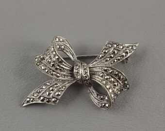 Sterling Silver Marcasite Pin Brooch Vintage Bow SIgned BX