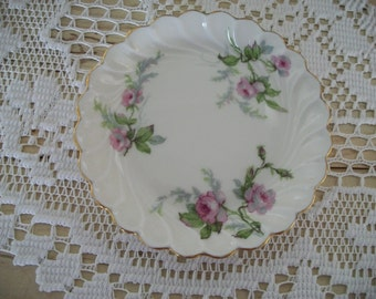 "Haviland Limoges ""Sylvia"" Pink Rose Handpainted Dish France"
