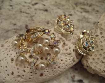 Vintage West German Faux Pearl and Aurora Borealis Rhinestone Brooch and Earring Set //J1