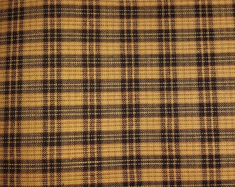 1 yard of Primitive Mustard and Black Homespun Fabric  Sewing Fabric Quilting Fabric Craft Supplies