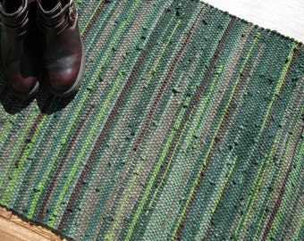 Handwoven Rug - 26 x 46 woven from Recycled T Shirts - Green and Brown - Washable & Reversible