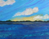 large painting of maine lake, original art, clouds floating over maine lake, titled Cloud Trio, Maine, framed, FREE US SHIPPING